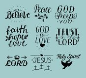 Set of 9 Hand lettering christian quotes Jesus. Holy Spirit. Trust the Lord. Peace. Only believe. Faith. hope. God is love. Stock Images