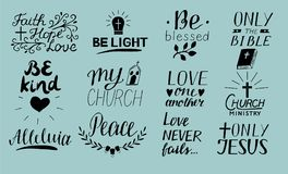 Set of 12 Hand lettering christian quotes Only Jesus. Love one another. Church ministry. Alleluia. Be light. Bible. Faith, hope. P. Eace. Be kind. Blessed Stock Photos
