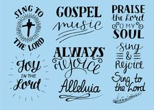 Set of 8 Hand lettering christian quotes Sing to the Lord. Alleluia. Always rejoice. Praise o my soul. Gospel music. Worship collection Biblical background Stock Photo