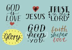 Set of 6 Hand lettering christian quotes with symbols God is love. Jesus. Trust in the Lord. Glory. Faith, hope, love. Royalty Free Stock Photography