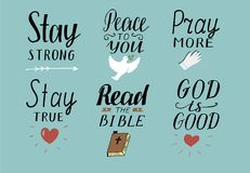 Set of 6 Hand lettering christian quotes with symbols Stay strong. Peace to you. Pray more. Read the bible. God is good. Set of 6 Hand lettering christian Stock Photo