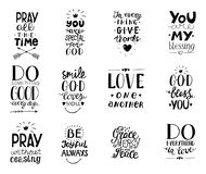 Set of 12 Hand lettering christian quotesYou blessings, Do good every day, Grace, mercy, peace, Love one another, Pray. God bless you, Give thanks. Biblical royalty free illustration
