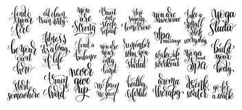 Set of 25 hand lettering inscriptions about fitness to motivatio Royalty Free Stock Photography