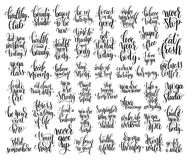 Set of 50 hand lettering inscriptions about fitness Royalty Free Stock Image