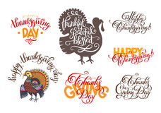 Set of hand lettering inscriptions to thanksgiving day Royalty Free Stock Photography