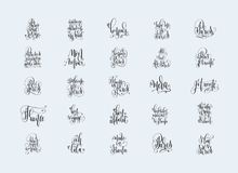 Set of 25 hand lettering inscriptions about travel to Paris Fran Stock Images