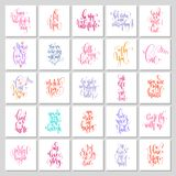 Set of 25 hand lettering love quotes to valentine`s day stock image