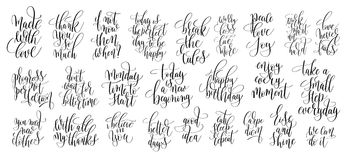 Set of 25 hand lettering motivational quotes, handwritten positi. Ve phrases to print, inspirational typography slogans calligraphy vector illustration Stock Photo