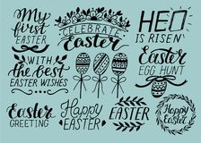 Set of 9 hand lettering about Easter. He is risen. Egg hunt. Celebrate.