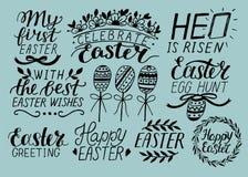 Set of 9 hand lettering about Easter. He is risen. Egg hunt. Celebrate. stock illustration