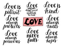 Set of 8 hand lettering quotes about love from Corinthians