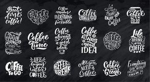 Set of Hand lettering quotes with sketches for coffee shop or cafe. Hand drawn vintage typography collection isolated on. Chalk background. Vector vector illustration
