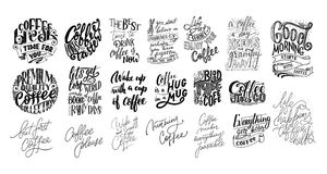 Set of Hand lettering quotes with sketches for coffee shop or cafe. Hand drawn vintage typography collection isolated on white bac. Kground. Vector Stock Photography