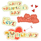 Set of Hand Lettering for St. Valentines Day Stock Photo