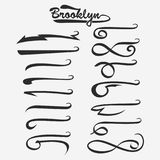Set of hand lettering underlines swishes tail. Swooshes collection isolated on white, Swashes for Typography Tshirt. Retro Swoop wave line. Vector Royalty Free Stock Image