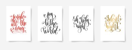 Jingle all the way, joy to the world, oh holy night, silent nigh. Set of 4 hand lettering vector posters on a white sheet of paper - jingle all the way, joy to Royalty Free Stock Images