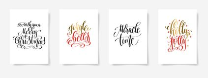 We wish you a merry christmas, jingle bells, miracle time. Set of 4 hand lettering vector posters on a white sheet of paper - we wish you a merry christmas royalty free illustration