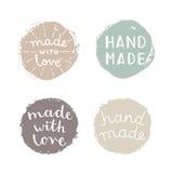 Set of hand made badges. Vector hand drawn illustration stock illustration