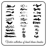 Set hand-made decorative texture brushes ink for decoration. Vector collection Stock Photography