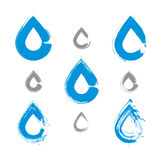Set of hand-painted blue water drop icons isolated on white back Royalty Free Stock Photos