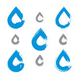 Set of hand-painted blue water drop icons Royalty Free Stock Image