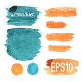 Set of hand-painted brush strokes and spots Royalty Free Stock Photography