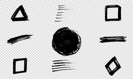 Set of Hand Painted Brush Strokes. Vector Grunge Brushes. Dirty Artistic Design Elements. Vector illustration. Set of Hand Painted Brush Strokes. Vector Grunge Stock Images