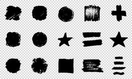 Set of Hand Painted Brush Strokes. Vector Grunge Brushes. Dirty Artistic Design Elements. Vector illustration. Set of Hand Painted Brush Strokes. Vector Grunge Stock Image