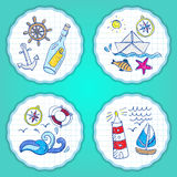 Set of hand painted doodle sea elements Stock Photography