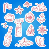 Set of hand painted doodle sea elements. Stock Photos