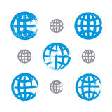 Set of hand-painted earth globe icons isolated on white backgrou Stock Image