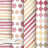 Set of 4 hand painted geometric seamless patterns Royalty Free Stock Images
