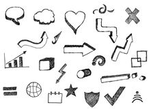 Set of hand-painted icons Stock Image