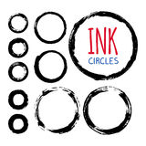 Set of hand painted ink circles. Fand painted ink circles set. Graphic design elements for web sites, stationary printables, corporate identity, scrapbooking Royalty Free Stock Image