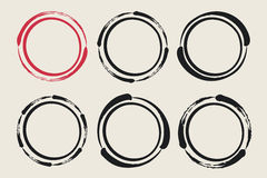 Set of hand painted ink circles. Graphic design elements for web sites, stationary printables, corporate identity, scrapbooking, posters etc. Coffee or wine Stock Photo