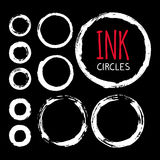 Set of hand painted ink circles. Graphic design elements for web sites, stationary printables, corporate identity, scrapbooking, posters etc. Vector Stock Photography