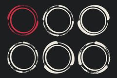 Set of hand painted ink circles. Vector illustration. Graphic design elements for web sites, stationary printables, corporate identity, scrapbooking, posters Stock Images