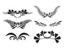 Set of hand-painted silhouettes of plants Royalty Free Stock Photography