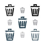 Set of hand-painted simple vector trash can icons Royalty Free Stock Photos