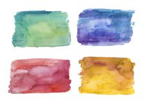 Set of hand painted watercolor backgrounds, green, blue, red and yellow royalty free illustration
