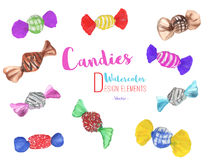 Set of hand painted watercolor candies, vector Stock Photo