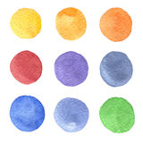 Set of hand painted watercolor circles of different colors stock illustration