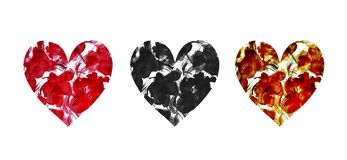 Set of hand painted watercolor hearts with abstract flowers on white vector illustration