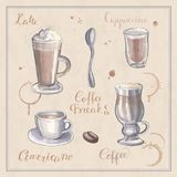 A set of hand painting sketches on the theme of coffee Stock Image