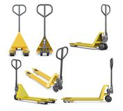 Set of hand pallet truck  on white background. 3d render Royalty Free Stock Image