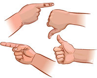 Set of hand pointers Stock Photos