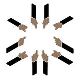 Set of hand pointing finger  Isometric Vector  African American. Set of hand pointing finger. Isometric Vector. African American Stock Image