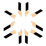 Set of hand pointing finger  Royalty Free Stock Images