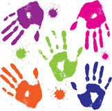 Set  hand prints Stock Photo