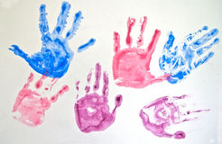 Set of hand prints Royalty Free Stock Photography